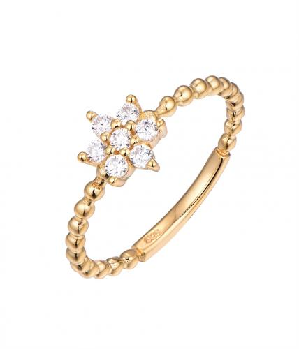 Yellow Gold CZ Flower Fashion 925 Sterling Silver Ring HR64001D