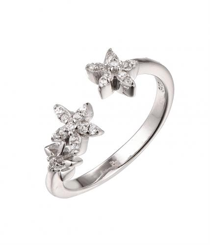 Rhodium CZ Flower Fashion 925 Sterling Silver Ring HR64003A