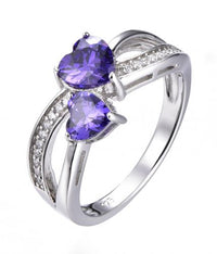 Rhodium Sapphire Stackable Heart Stackable 925 Sterling Silver Ring HR011C8A