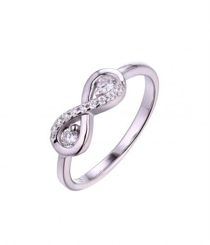 Rhodium CZ Infinity 925 Sterling Silver Ring HR033D8A