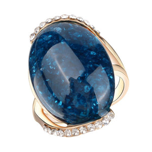 Rose Gold Color Rings Blue  For Women Latest Design