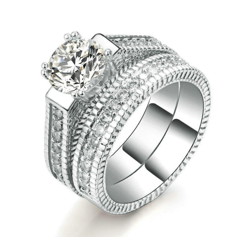 Fashion Wedding Ring Set Luxury 2 Rounds Cubic Zirconia Jewelry