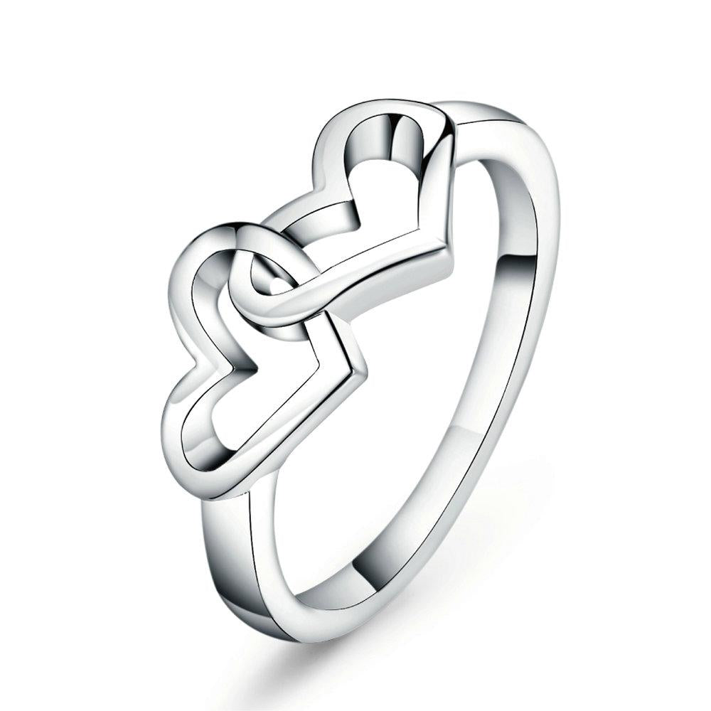 Top Quality Simple style Heart To Heart Ring Fashion Jewelry