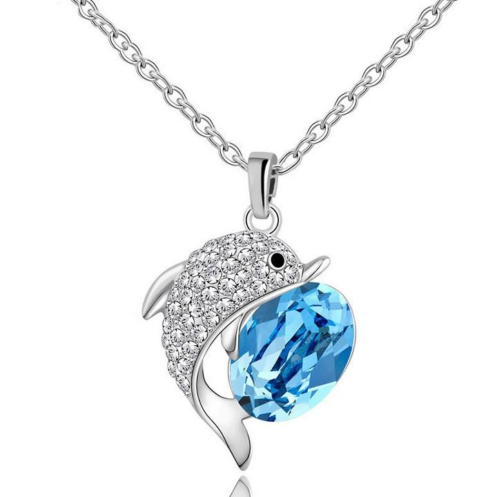 New Crystal dolphin Pendants Necklace Women Fashion Jewelry
