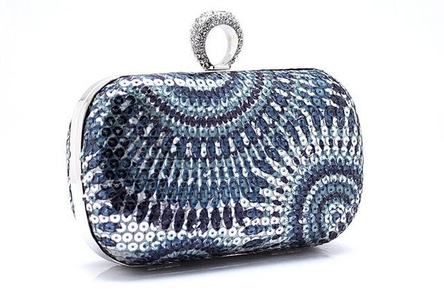 New Women Clutch Knuckle Rings Evening Bag Makeup Bag