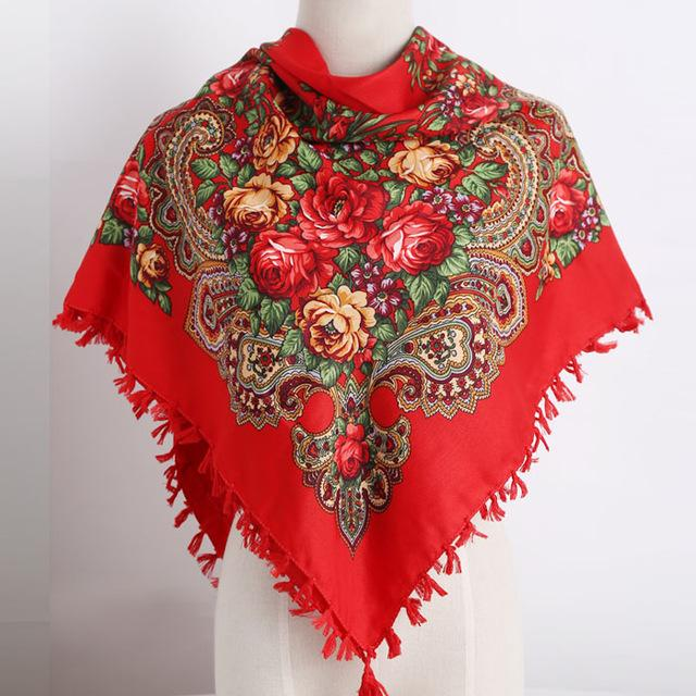 Hot Sell Square Scarf Handmade Tassel Flower Design Scarves
