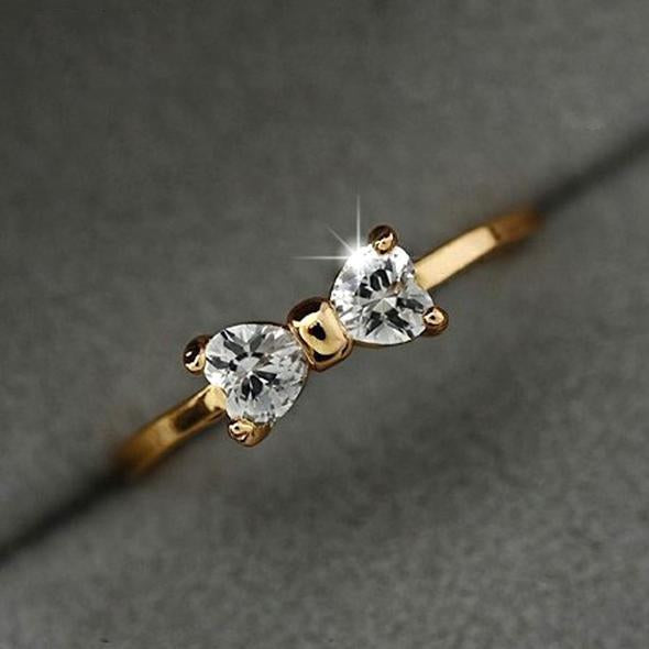 Zircon Crystal Rings Gold Color Bow ring wedding women jewelry