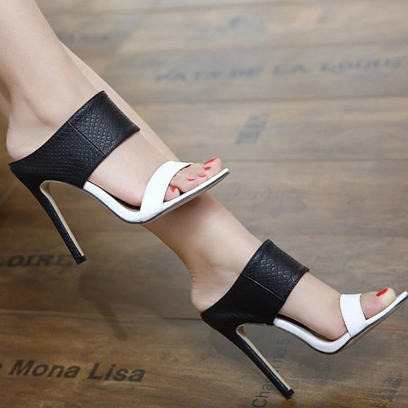 Plus Size Fashion Women High heel Sandals Black White