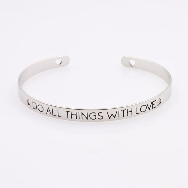 Fashion jewelry brave letter wish design cuff bangle lovers' gift