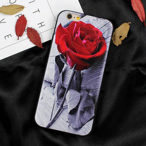 Rose Silicone Case for iphone 6 6s 5s iPhone X 8 7 Plus 7 6s Plus