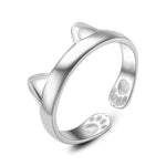 Fashion Cute Cat Ear Open Design Plated Gold Silver Ring
