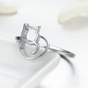 Authentic Naughty Little Cat Heart Ring for Women Jewelry Gift