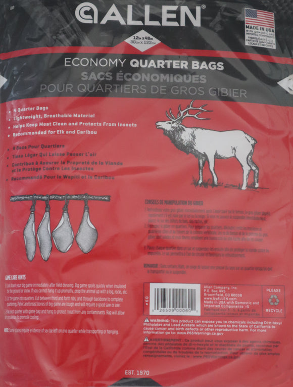 Game Bag Breathable Hunter Quarter Bag Allen 4 Pack