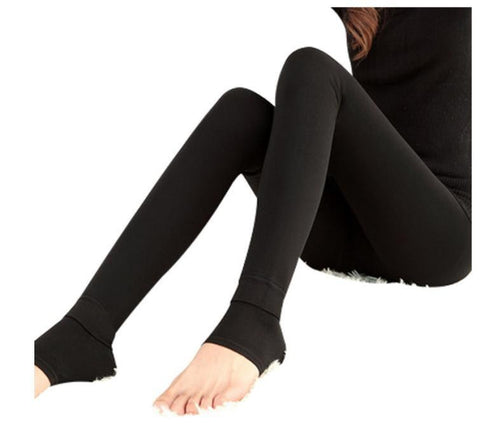 Black Knitted Cashmere Elastic Leggings