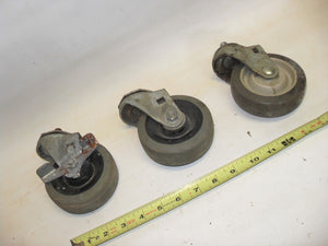 "LOT of 3 -  4""x1"" Casters 1/2""x1"" Threaded Mounting Stem -1 with brake (0325-21)"