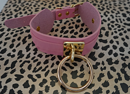 Pink and Gold Leather Choker