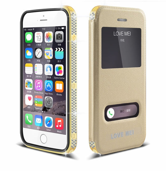 Gold Plated 24K Shine Crystal Diamond Frame+ Genuine Leather Flip Cover Case For iPhone 6/6 Plus