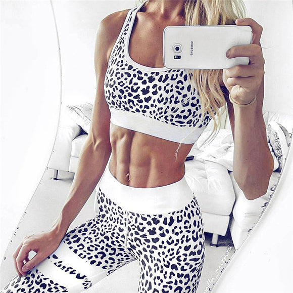 Women's Fitness Workout Suit Crop Tank Top And Legging Pants 2 Pieces