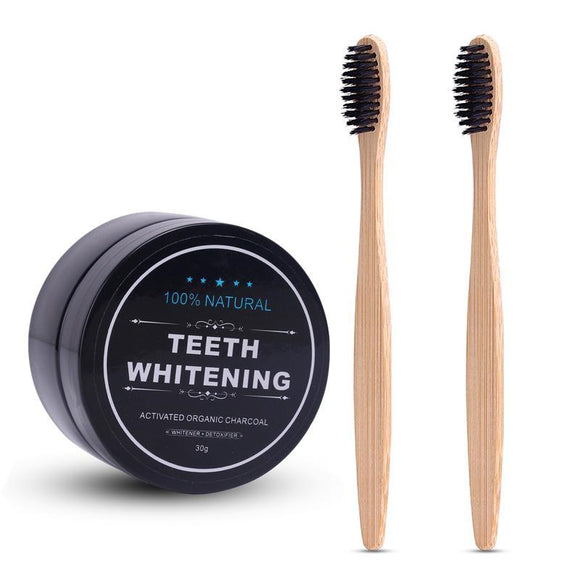 Charcoal Teeth Whitening Powder Set with 2 Pcs Bamboo Toothbrush