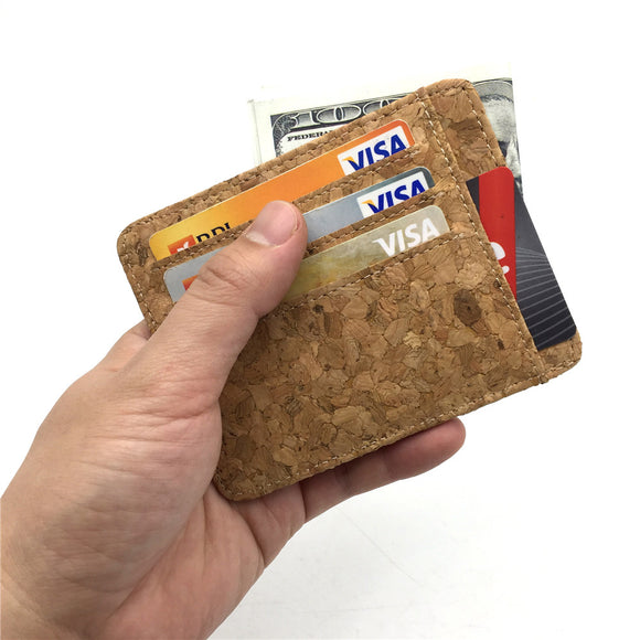 Natural cork men handmade card holder perfect for vegan