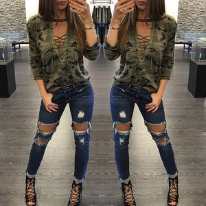 Sexy Army Camouflage Print Women Long Sleeve Slim Tops