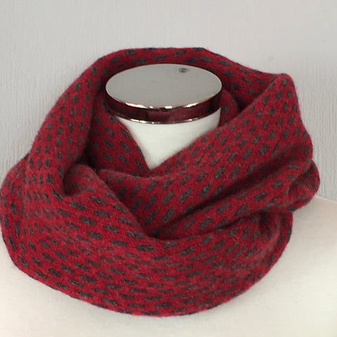 Scarf - Infinity Scarf Soft Merino Lambswool Berry Red and Coal Grey Dots