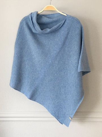 Poncho Soft Morino Lambswool Sky Blue
