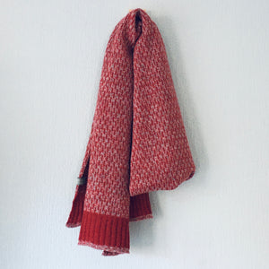 Scarf - super soft merino lambswool Nordic scarf in marled berry red and silver grey
