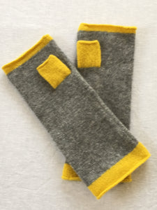 Mittens - Knitted Plain Fingerless Glove with contrast trims