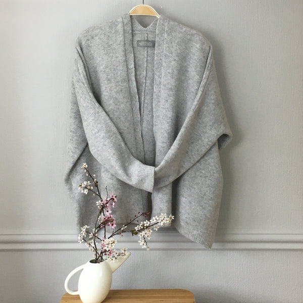 Cardigan edge to edge boxy style silver grey (no buttons) - Made to Order
