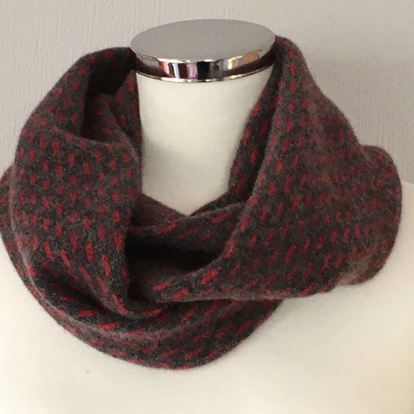 Snood- Infinity Scarf Soft Merino Lambswool Coal Grey and Berry Red Dots
