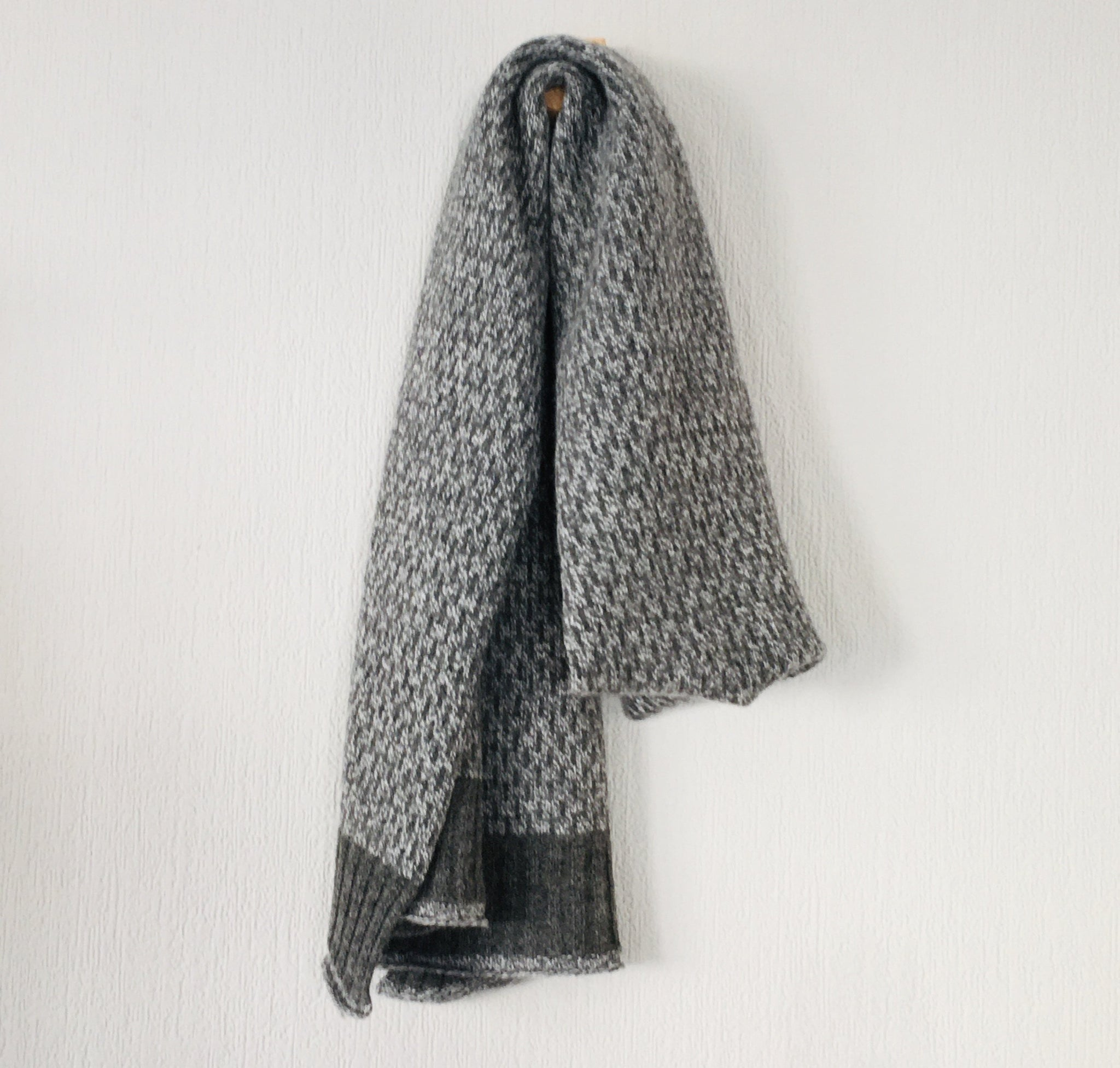 Scarf - super soft merino lambswool Nordic scarf in marled cliff grey and silver grey