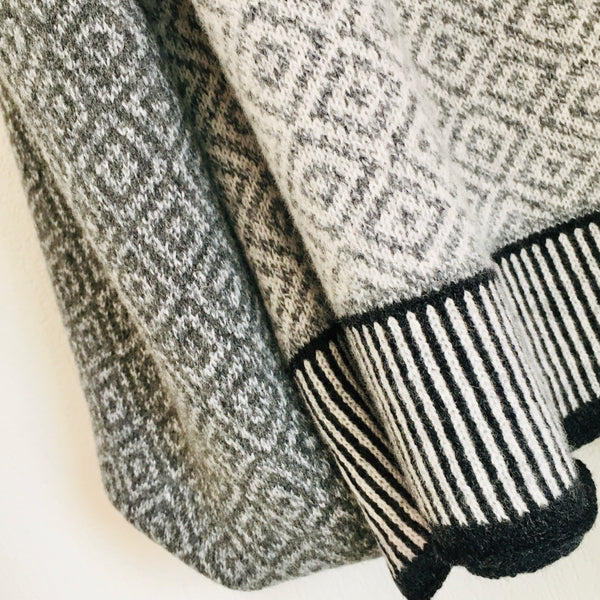 Scarf Wrap Shawl Marled Cliff Grey, Silver Grey Large Fair Isle Scandi Scarf
