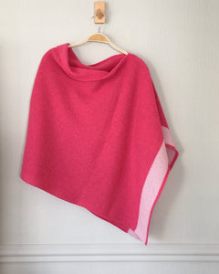 Capelet / poncho soft merino lambswool pink with blush pink border