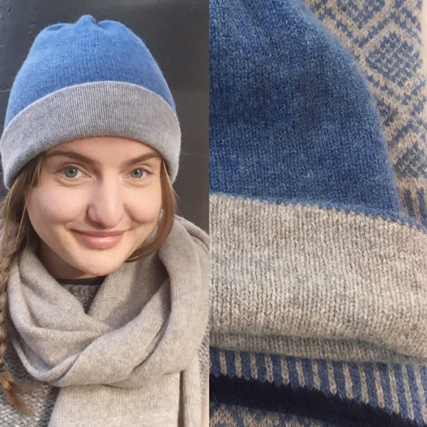 Hat - Soft Lambswool Reversible Beanie Hat in Pearl Grey and Jeans Blue