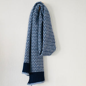 Scarf - super soft merino lambswool Nordic scarf in jeans blue and silver grey