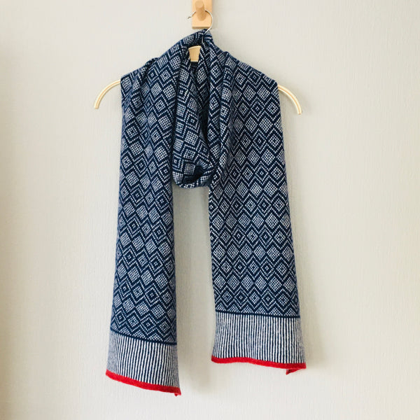 Scarf -soft merino lambswool Scandi scarf in navy blue and natural white