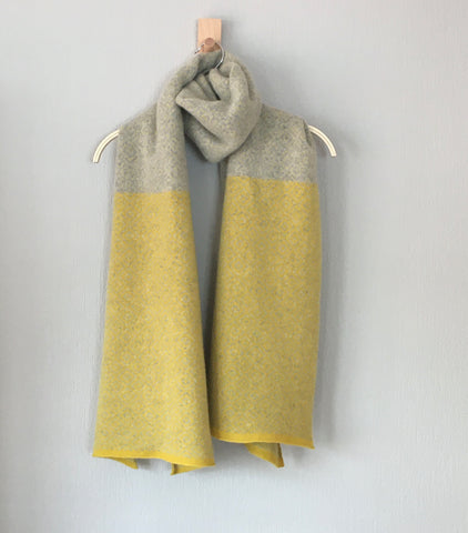 Shawl scarf marled brass yellow, silver grey large Fair Isle Scandi scarf