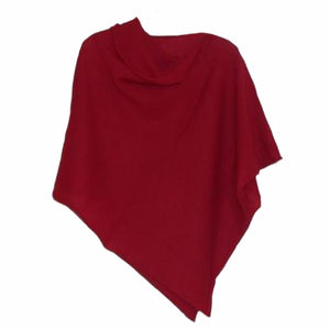 Poncho Soft Merino Lambswool Berry Red