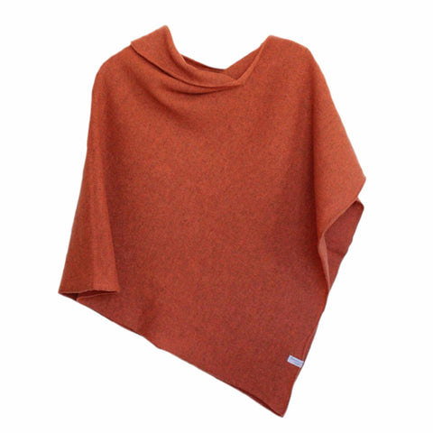 Poncho Soft Merino Lambswool Burnt Orange
