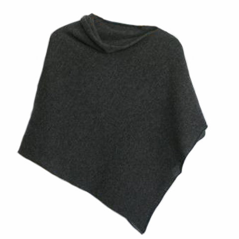 Poncho Soft Merino Lambswool Coal Grey