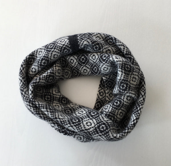 Infinity Scarf Soft Merino Lambswool Nearly Black and Cream