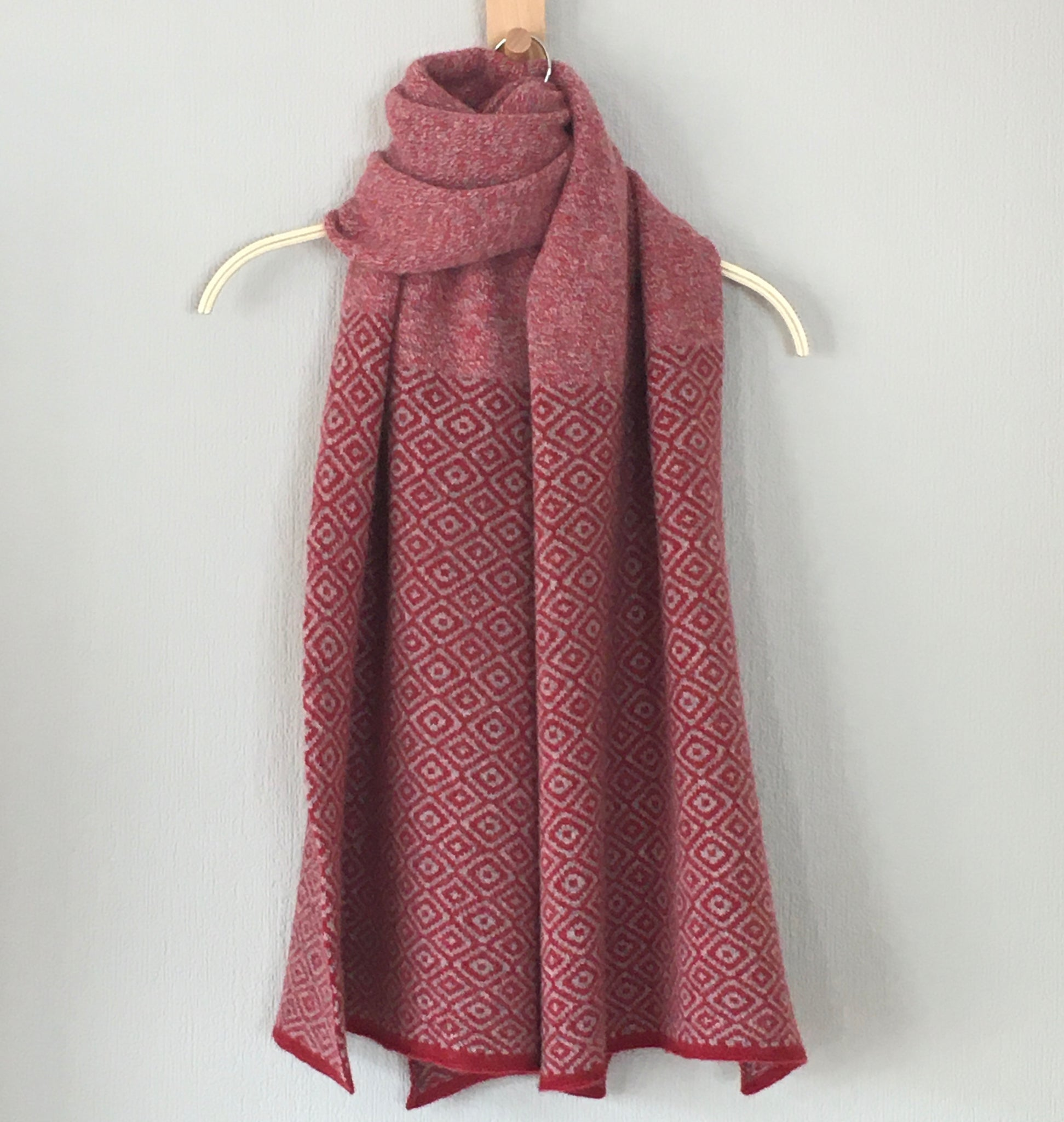 Shawl scarf merino lambswool marled berry red, silver grey large Fair Isle Scandi Scarf
