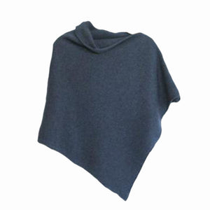 Poncho Soft Merino Lambswool Denim Blue
