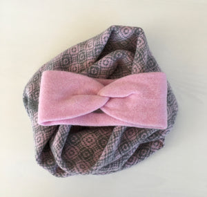 Snood Infinity Scarf and Headband Soft Merino Lambswool Pink and Grey
