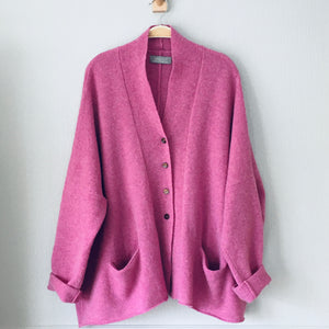 Cardigan Soft merino lambswool foxglove pink boxy cardigan with buttons - MADE TO ORDER