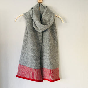 Scarf -soft merino lambswool Scandi scarf in uniform grey and pearl grey