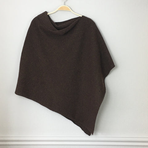 Poncho Soft Morino Lambswool Hickory Brown