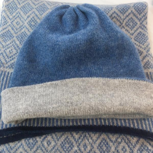 Hat - Soft Lambswool Revisable Beanie Hat in Pearl Grey and Jeans Blue