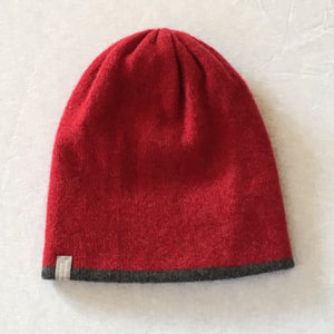 Hat - Soft Lambswool  Reversible Beanie Hat in Berry Red and Coal Grey